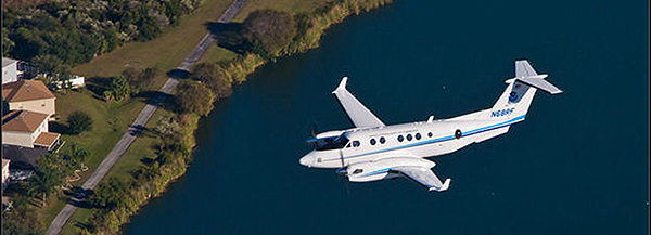 NOAA's aircraft, the Hawker Beechcraft King Air 350CER, is equipped with two downward-facing sensor ports that can support a wide variety of remote sensing systems, including digital cameras, multispectral and hyperspectral sensors, and topographic and bathymetric LIDAR systems.