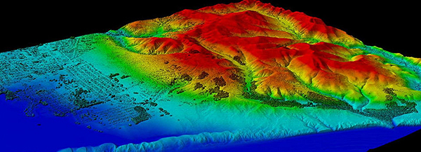 LIDAR image created with data collected by NOAA's National Geodetic Service