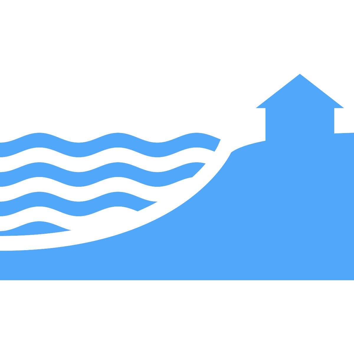 Hazards icon - rising water at a coastline