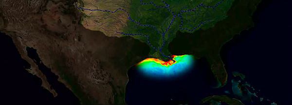 aerial image of a dead zone in Gulf of Mexico