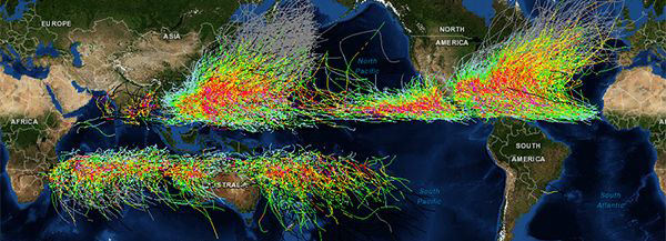screenshot of the historical hurricane tracks tool