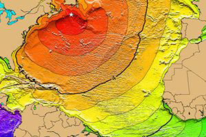On Nov. 18, 1929, a magnitude 7.4 Mw earthquake occurred 155 miles south of Newfoundland along the southern edge of the Grand Banks, Canada. This illustration, called a Tsunami Time Travel Map, shows the arrival times of tsunami waves. Red: 1-4 hour arrival times; Yellow: 5-6 hour arrival times; Green: 7-14 hour arrival times. The map was produced by NOAA and the International Tsunami Information Center.