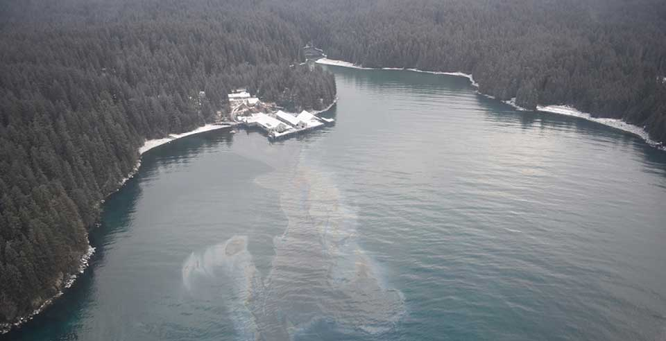 On Feb. 26, 2018, oil was released into the Shuyak Strait in Alaska after an abandoned building collapsed. (Image credit: U.S. Coast Guard).