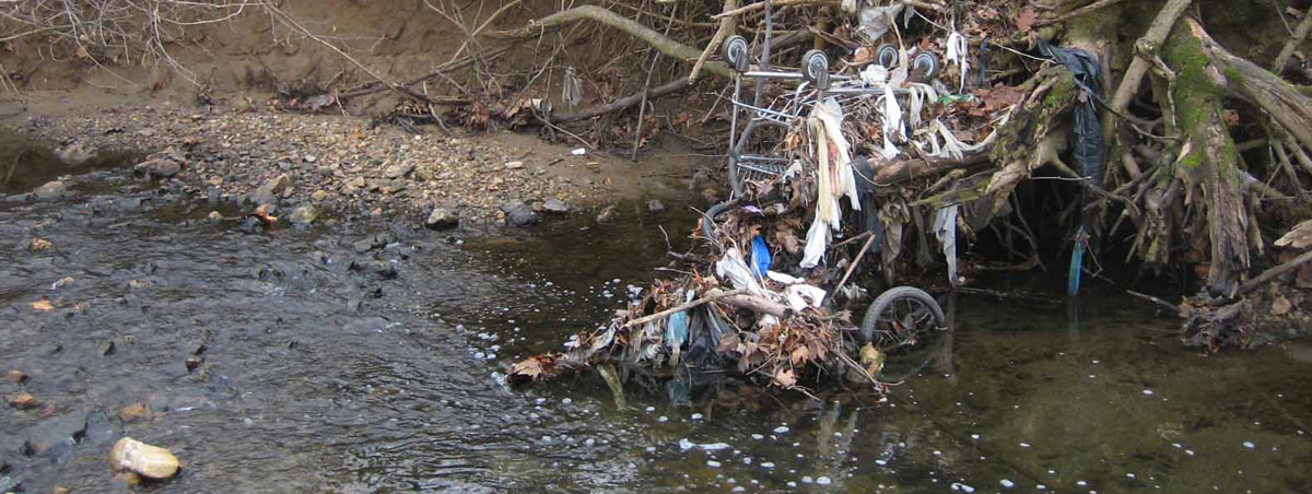 Garbage that isn't properly disposed in cities often makes its way to the ocean via streams and rivers.