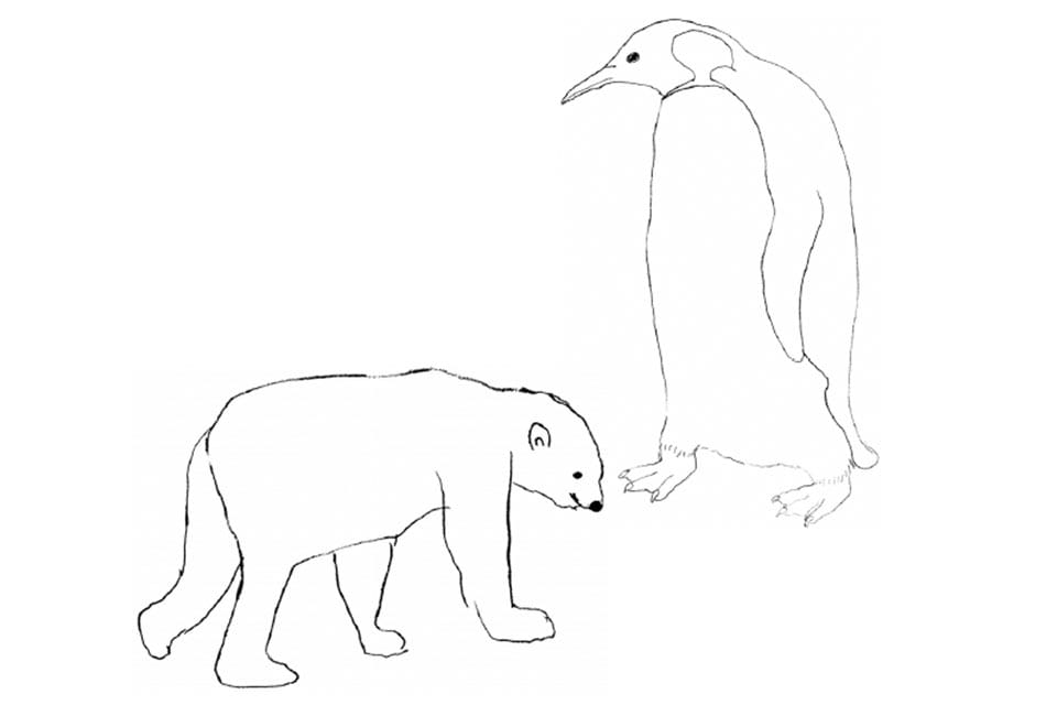 polar bear and penguin art