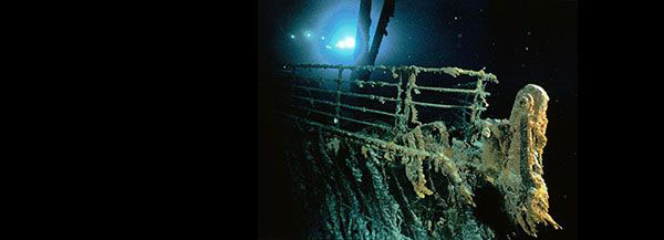 A view of the bow and railing of the RMS Titanic. Image copyright Emory Kristof/National Geographic