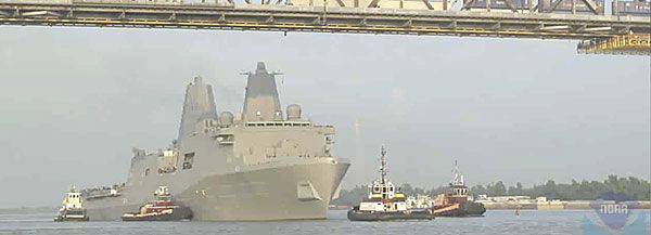 USS New York under the Huey P. Long Bridge