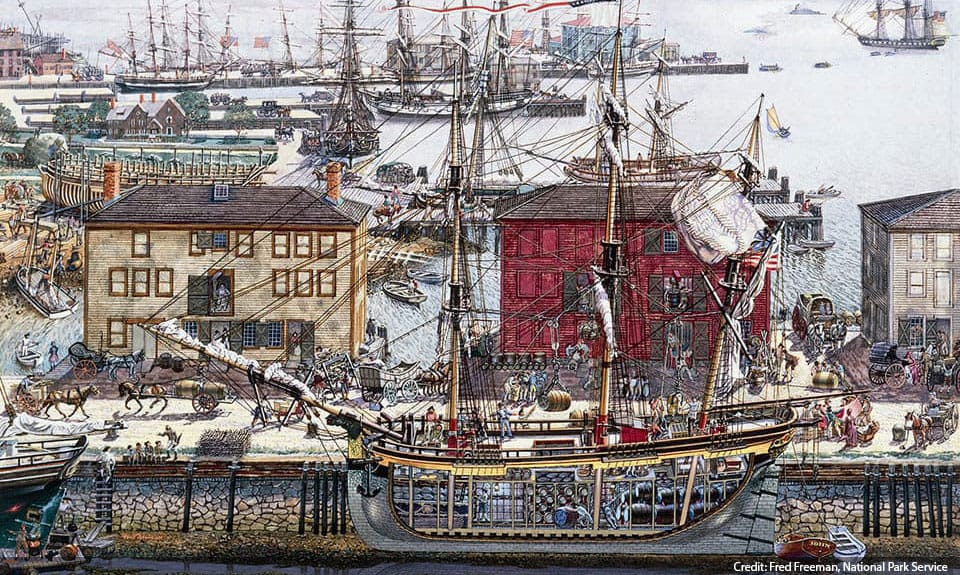 Illustration of Derby Wharf by Fred Freeman. Salem's wharves were a rich and vital scene especially when a merchant ship arrived.