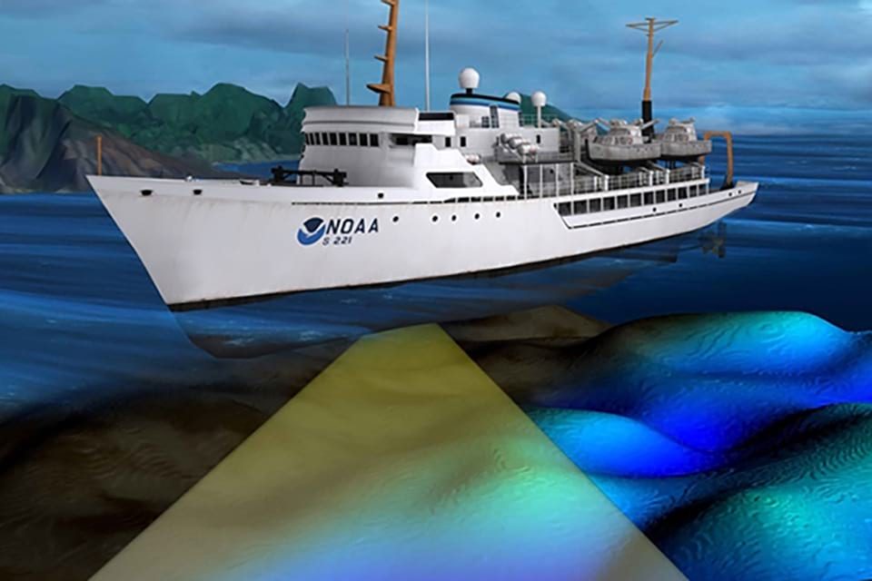 A NOAA survey ship uses its multibeam echo sounder to conduct hydrographic surveys.