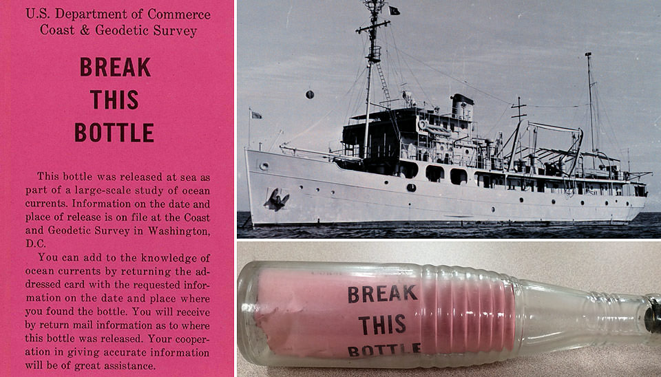 A collage of images showing a sealed bottle set adrift by the U.S. Coast & Geodetic Survey in 1949; the USCGS ship Hydrographer; and text of message found inside drift bottles that reads 'BREAK THIS BOTTLE: This bottle was released at sea as part of a large-scale study of ocean currents. Informatio