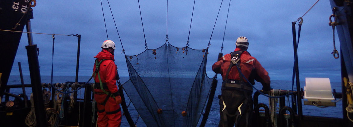 U.S. MBON researchers prepare to deploy a beam trawl to collect ocean life samples.