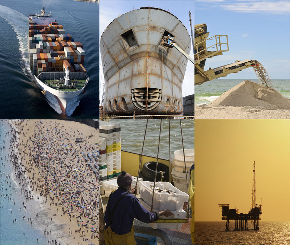a collage of imagery representing the coastal economy
