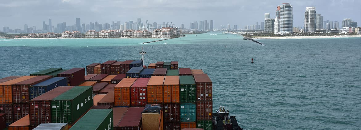 view from a ship entering Miami port