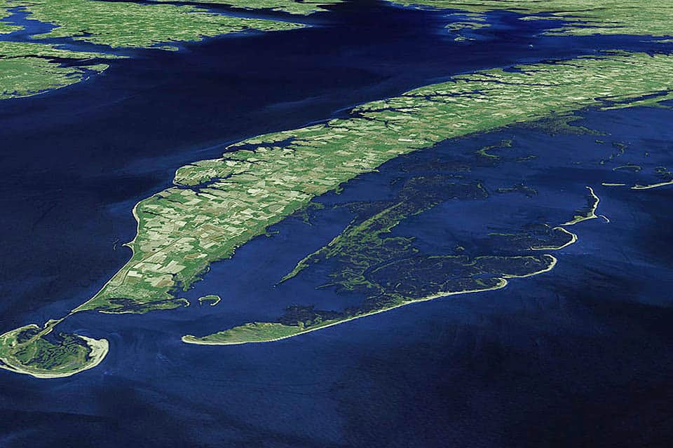 A NASA satellite view of Chesapeake Bay's Eastern Shore created with images acquired by Landsat 7 during the period of 1999-2002.