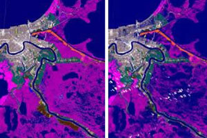 These images (left to right) show land cover conditions before Hurricane Katrina, during the two-week flooded period following the storm, and after flood levels receded (approximately six months post-storm).