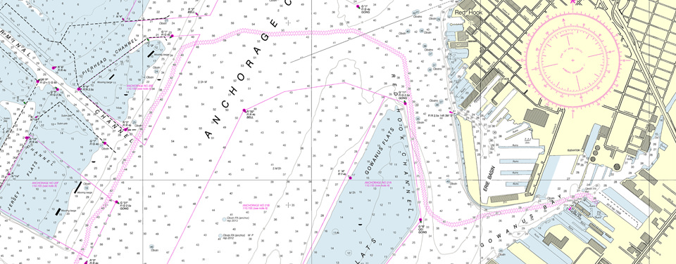 a close-up view of the new nautical chart for New York Harbor