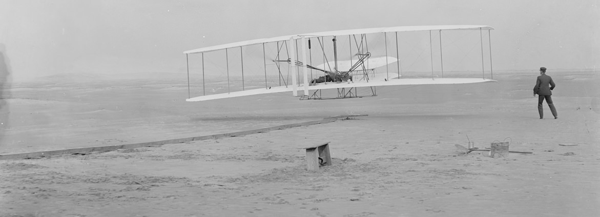 This photograph shows the first powered, controlled, sustained flight.