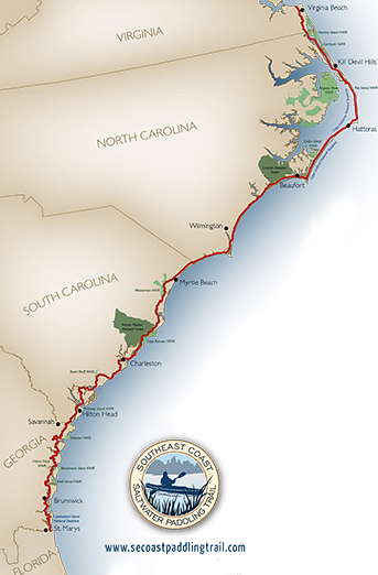Map showing the Southeast Coast Saltwater Paddling Trail. Image courtesy of  Southeast Coast Saltwater Paddling Trail