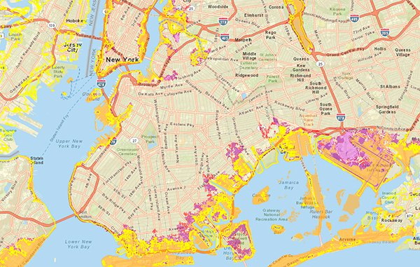 Sea Level Rise Tool For Sandy Recovery - Sea rising map