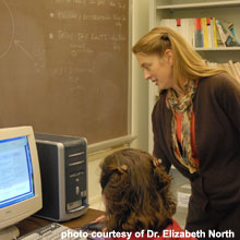 Dr. Elizabeth North, University of Maryland, discusses modeling advances with graduate student Maggie Sexton