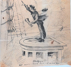 This  cartoon from the late 19 century depicts an officer on the deck of the Coast & Geodetic  Steamer Blake (from Scrapbook in Hydrographic Inspector's Office, 1881)