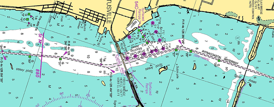 nautical chart showing magenta line