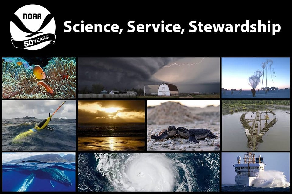 a collage showing NOAA activities with text that says NOAA 50 Years, Science, Service, Stewardship