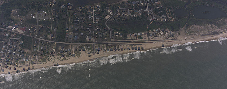 An aerial oblique image of the North Carolina coast near Rodanthe