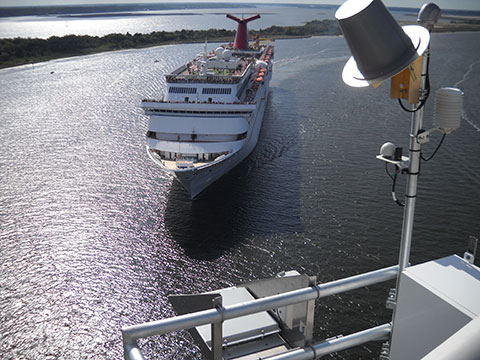 cruise ship approaching the Dames Point Bridge in Jacksonville, Florida