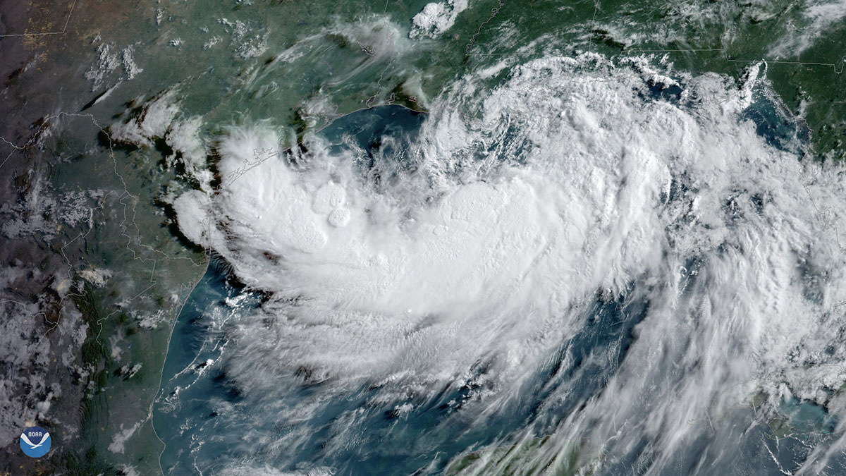 Tropical Storm Barry, seen here by GOES East on July 12, 2019, at 9 a.m. ET is strengthening over the warm waters of the northern Gulf of Mexico.
