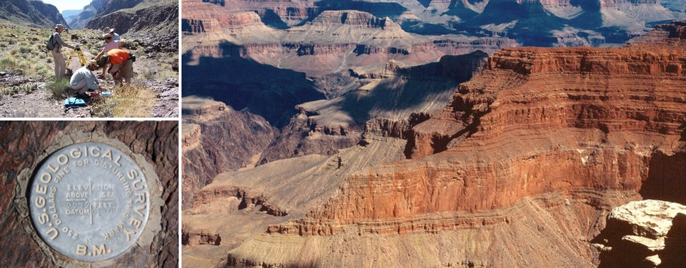 Surveyors from NOAA and the U.S. Geological Survey recently teamed up to update hundreds of geodetic control points in and around the Grand Canyon; Grand Canyon panorama courtesy of U.S. National Park Service.
