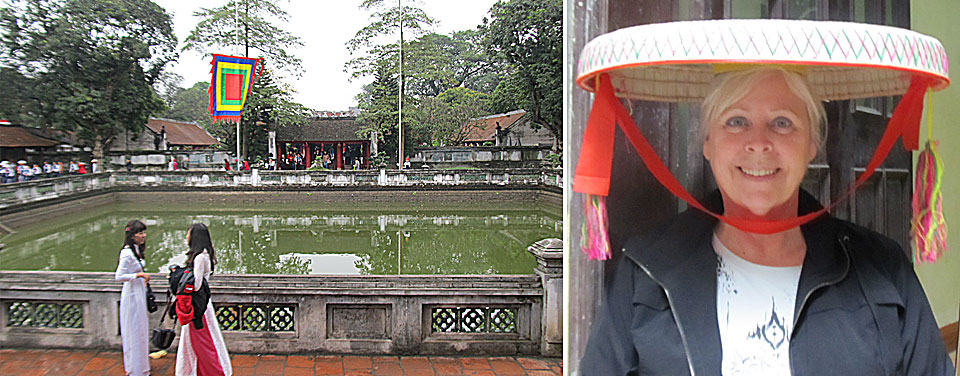 Traditional ways are evident in Vietnam at the Temple of Literature in Hanoi and the traditional dress (ao dai) in the foreground.  The courting hat was used by women as a multi-purpose tool to carry intems, assist in the rice harvest and to hide behind for a quick kiss with a beau.