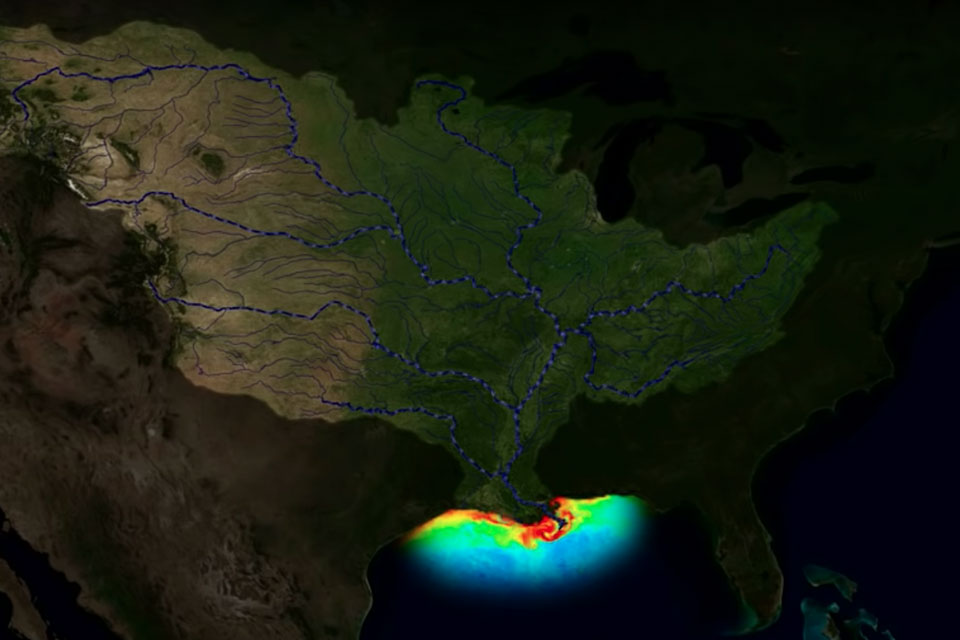 A NOAA visualzation of sediments flowing into the Gulf of Mexico in the Mississippi watershed