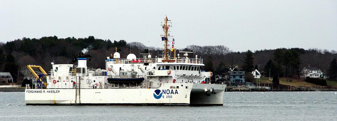 The NOAA Ship Ferdinand Hassler departs for the 2015 surveying season.