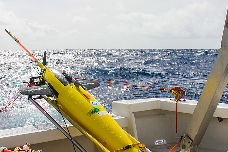 Ubaldo López of the University of Puerto Rico at Mayaguez prepares to launch NOAA ocean gliders in the summer of 2017 off Puerto Rico.