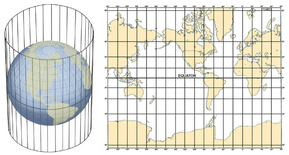 Chart Projections - Crawford Nautical   Mercator Projection Cylinder