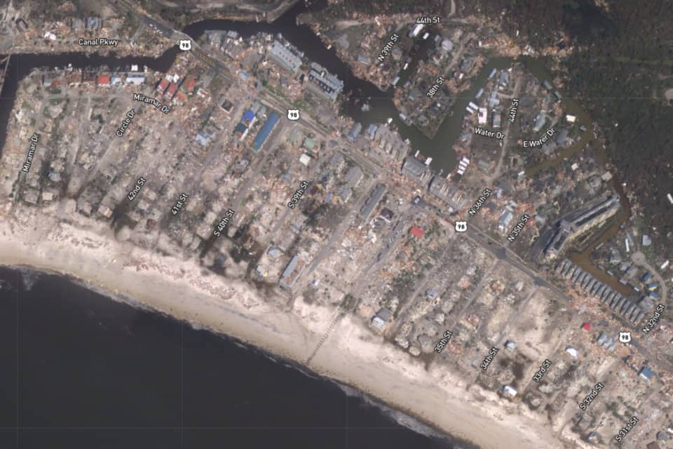 aerial image of coastal area in Florida following Michael