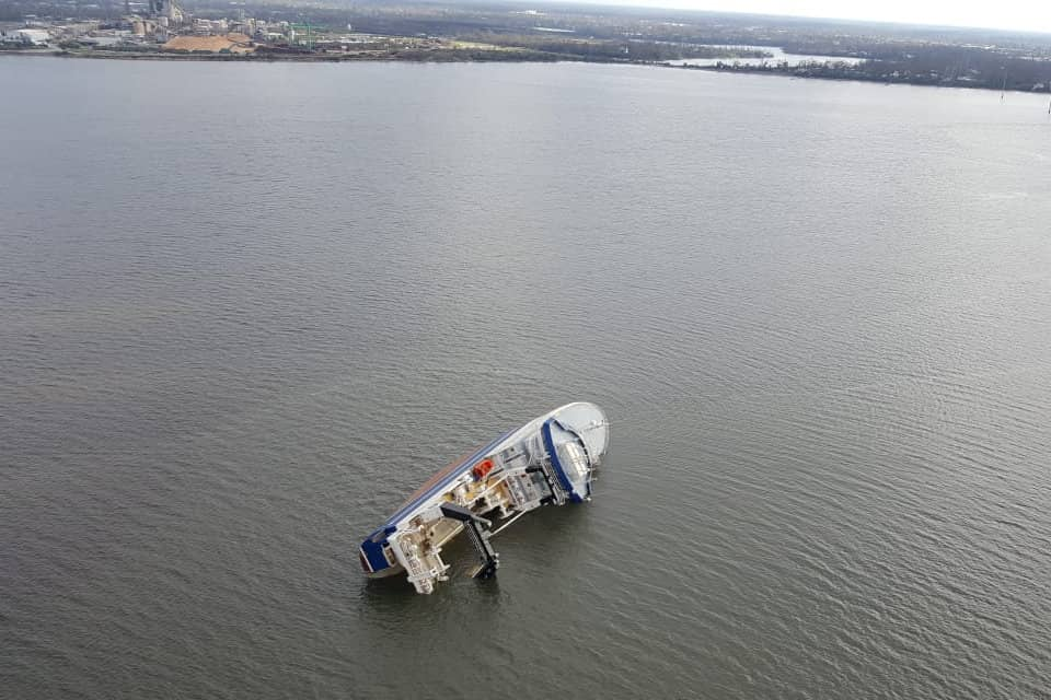 An overflight image of a sunken ship in St. Andrews Bay near Panama City, Florida. The Florida Panhandle got the brunt of Hurricane Michael's impact as it made landfall yesterday. Image credit: Bay County Emergency Operations Center.