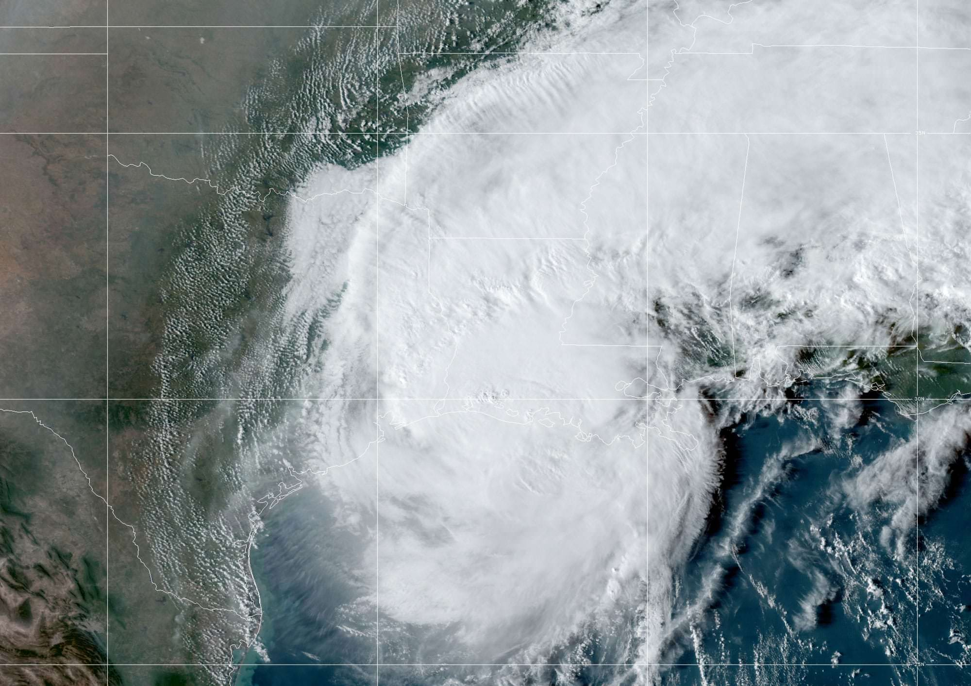 Hurricane Delta, seen here by GOES East on October 9, 2020, at 9 A.M. ET made landfall.