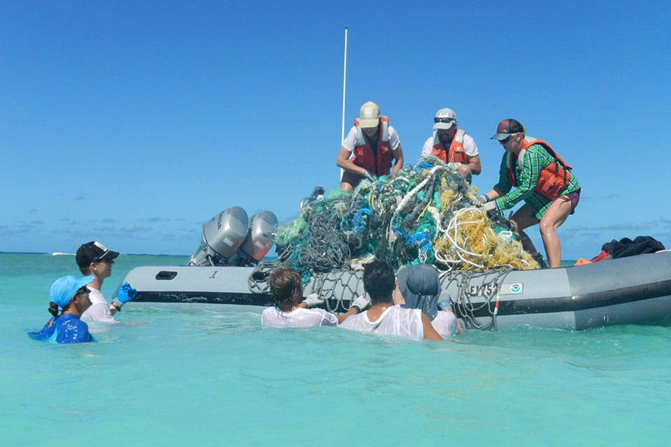 In 2014, NOAA removed about 57 tons of derelict fishing nets and plastic from the Papahanaumokuakea Marine National Monument's islands and atolls.