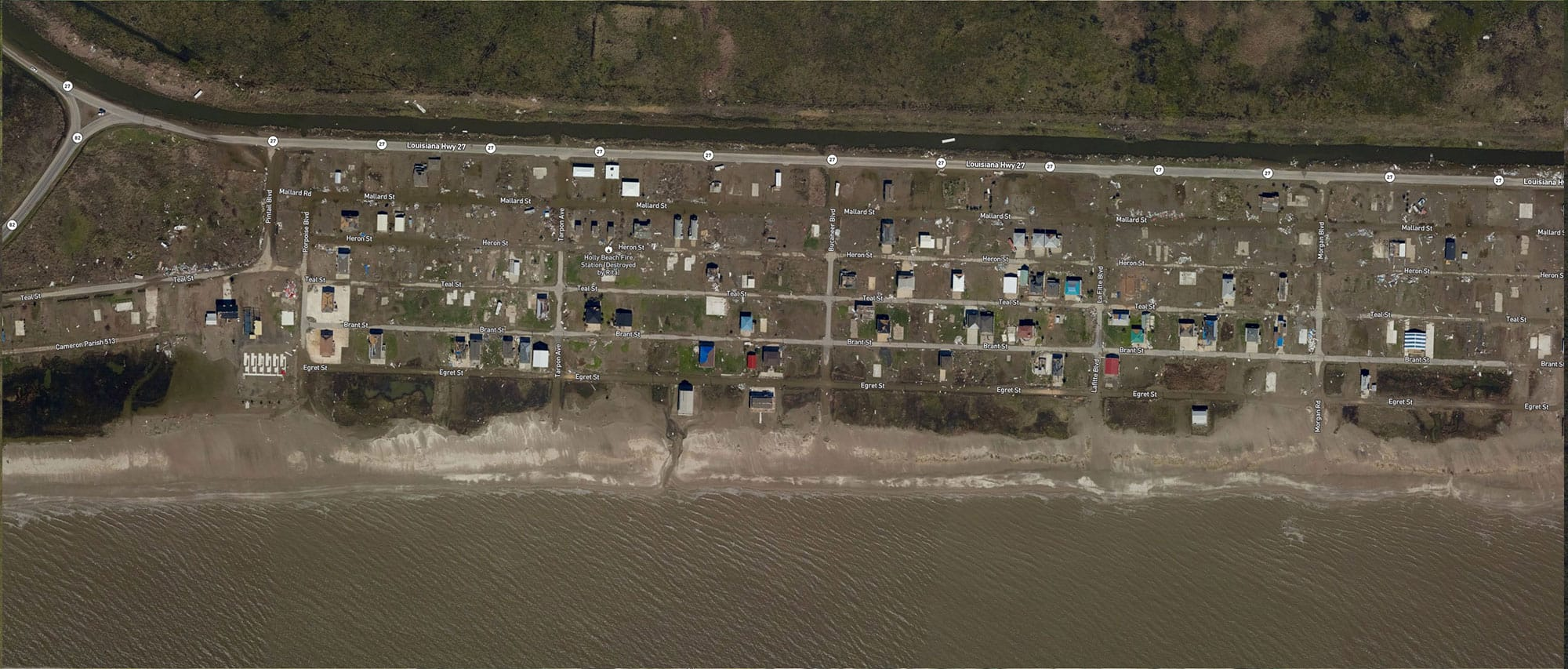 Holly Beach, Louisiana after Delta