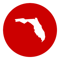 red circle icon with Florida in white in center