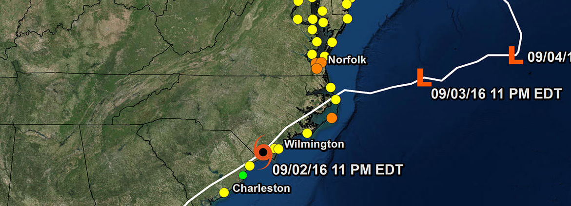 graphic showing water levels during Hurricane Hermine
