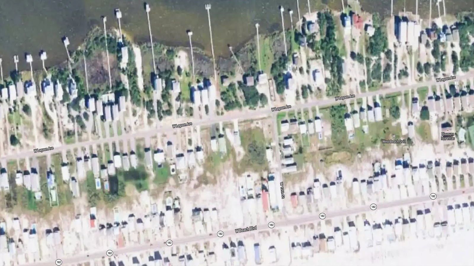 an image showing damage near Area west of Shelby Lake, Gulf Shores, Alabama  after Sally