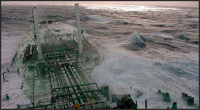 tanker in very rough seas
