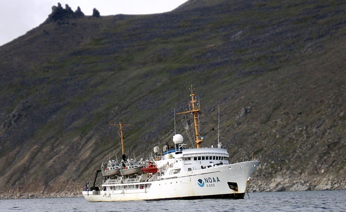 NOAA Ship Fairweather at anchor near the Bering Strait in 2010, courtesy of NOAA
