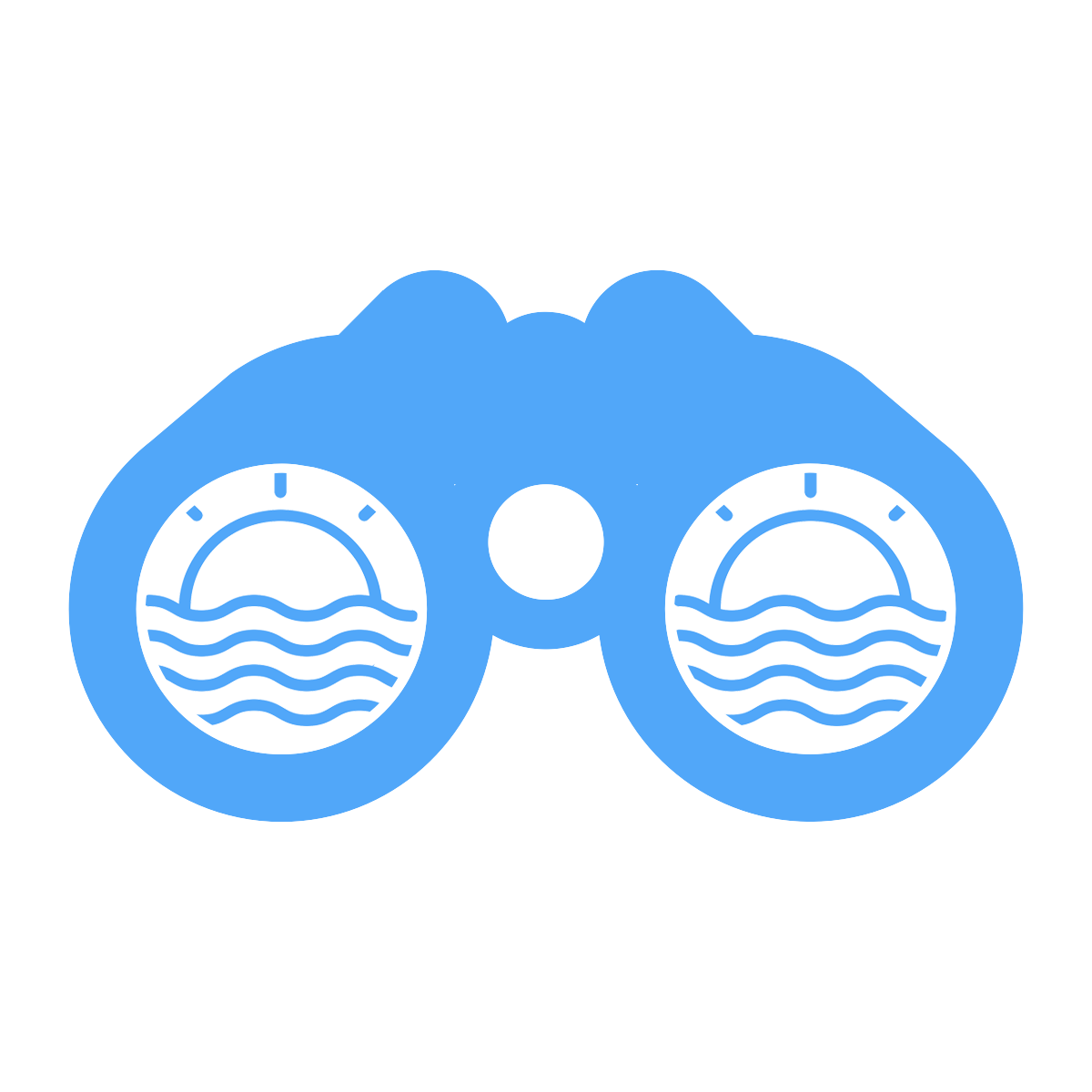 Observations icon - binoculars looking at sun setting behind waves