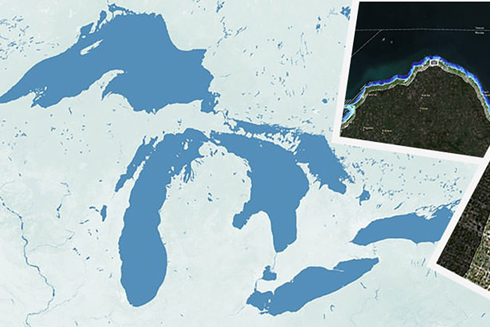 map view of the great lakes