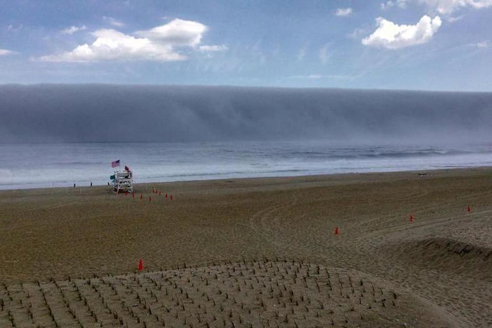 Photo of a fog bank that looks like a tsunami. Photo Credit:Capt Jim Freda, Shore Catch Sportfishing, Manasquan Inlet, NJ.