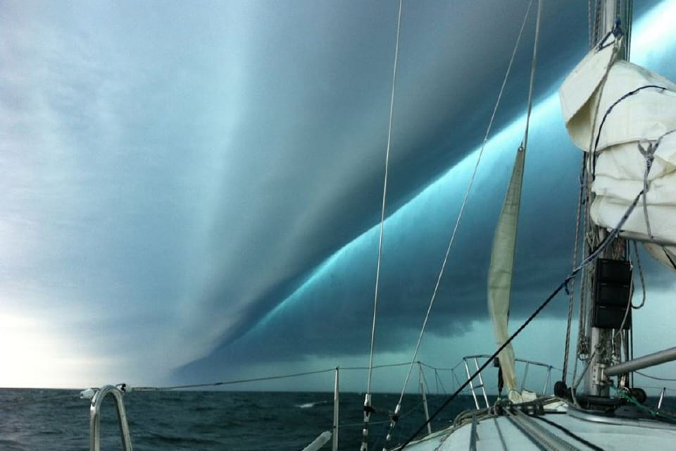Photo of a weather system that caused a meteotsunami in New Jersey, June 2013. Credit: Buddy Denham